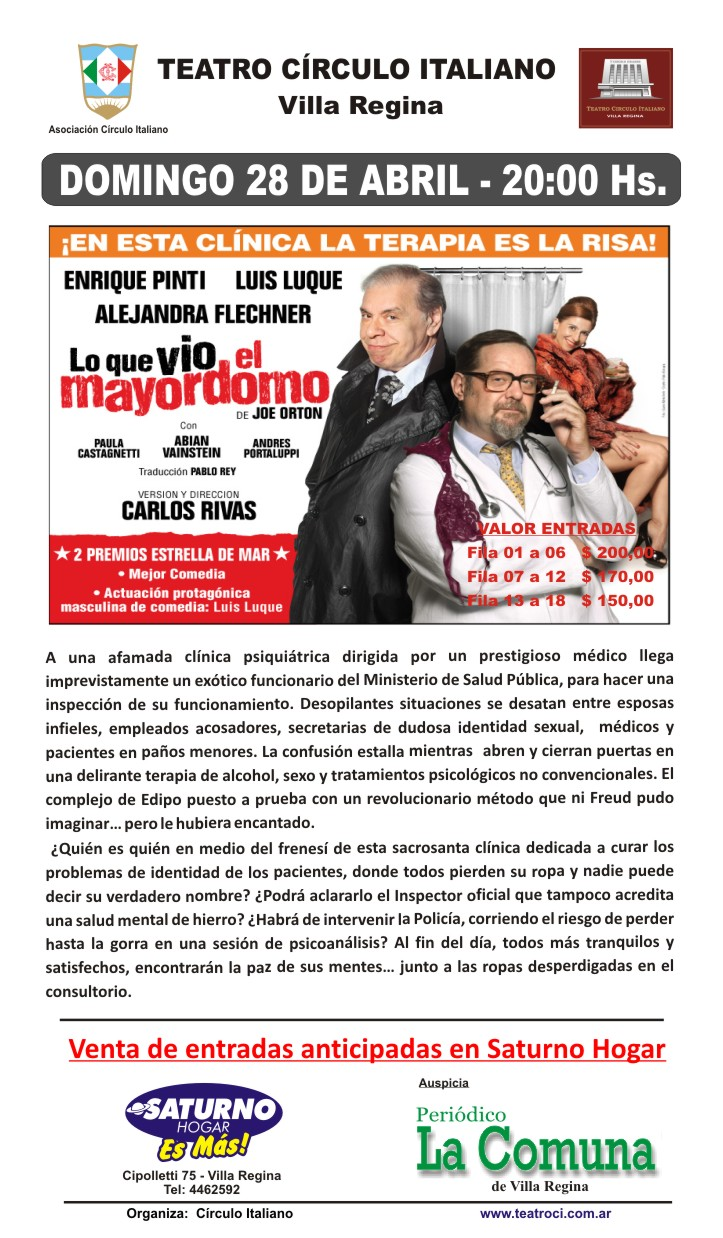 Lo que vio el mayordomo - Domingo 28 de Abril - 20 hs