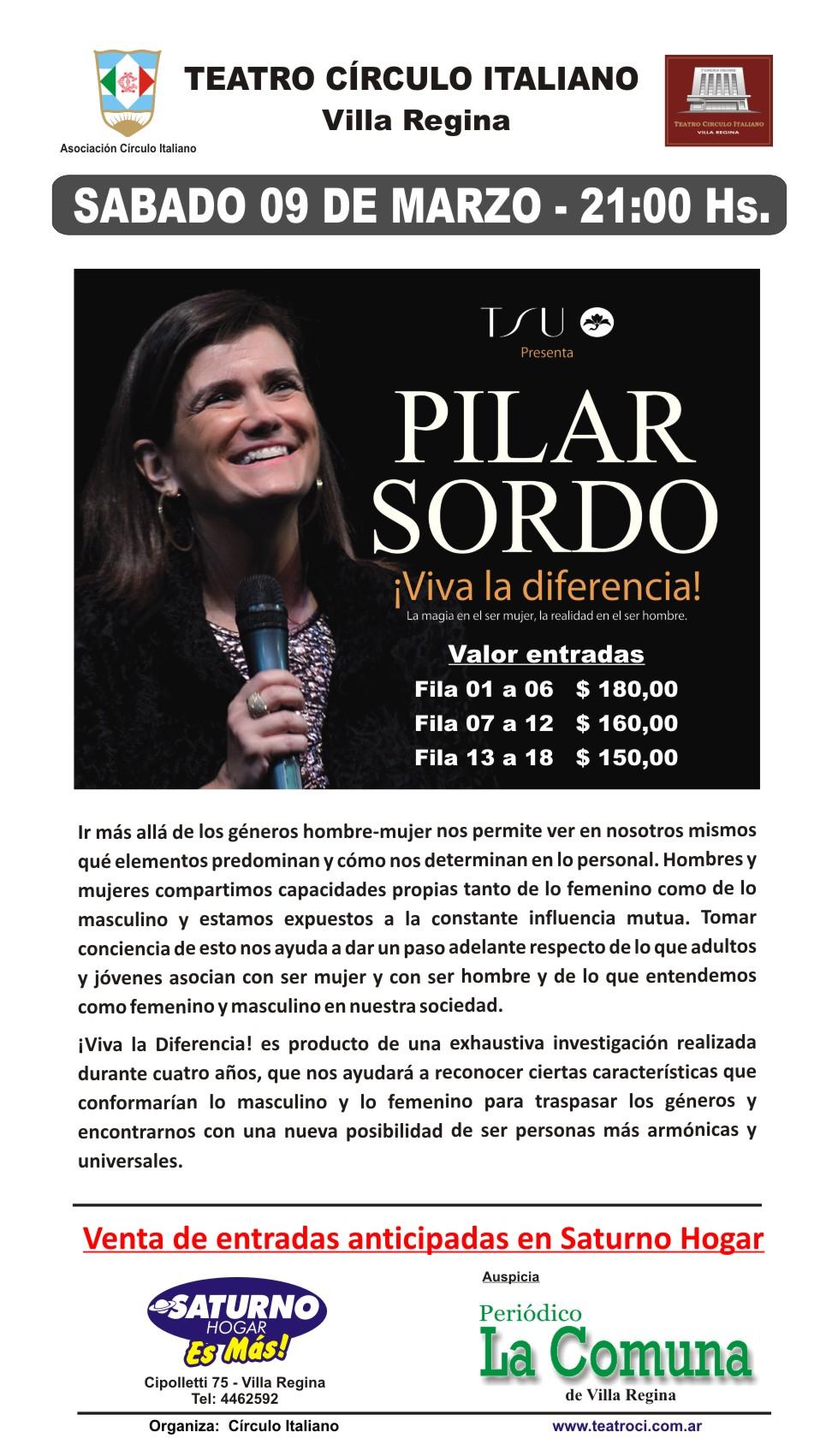 Pilar Sordo - Sabado 9 de Marzo - 21 hs - Con data